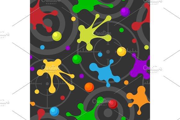 Splash Seamless Pattern Dark Colorful Hand Drawn Spray Texture Blot Art Spots And Grunge Stain Ink Abstract Background Design Vector Illustration
