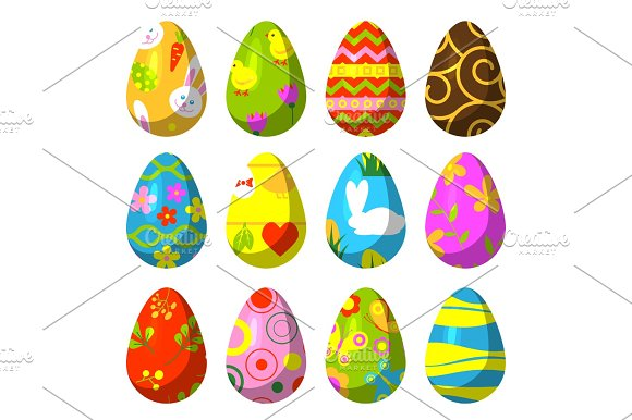 Easter Eggs Painted With Pattern Vector Illustration