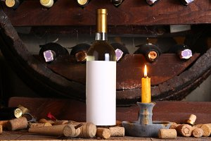 Vintage white wine in cellar