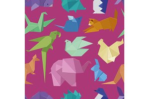Origami style of different paper animals seamles pattern vactor