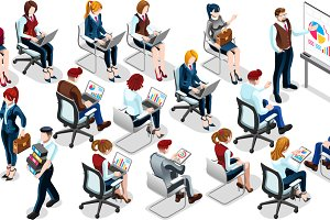 Isometric People Sale Training 3D