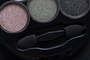 Close-up of multi-colored make-up.