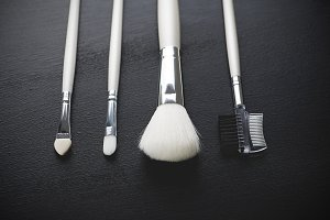 Tools to take care of eyebrows and eyelashes. Horizontal shoot.