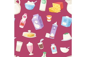 Milk everyday products vector seamless pattern