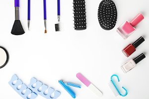 Tools for manicure, nail painting, makeup and hair styling. Isolated.