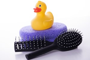 Yellow duckling on a sponge lilac together hair brushes. Isolated.