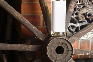 White wine on wooden wheel