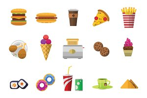 Vector icons sweet fast food elements.