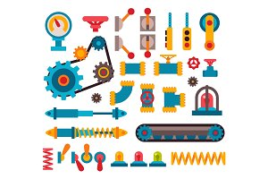 Machine parts different mechanism vector illustration.