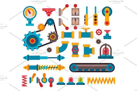 Machine Parts Different Mechanism Vector Illustration