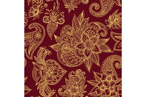Henna mehndi flower template vector seamless pattern