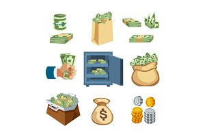 Dollar paper business finance money stack symbols of bundles us banking edition and banknotes bills isolated wealth sign investment currency vector illustration.