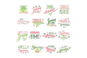 Spring time lettering text for greeting card special spring typography and art hand drawn nature greeting phrase vintage graphic vector illustration