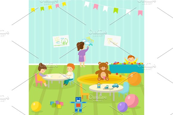 Kids Playroom With Light Furniture Decor Playground And Toys On The Floor Carpet Decorating Flat Style Cartoon Comfortable Interior Vector Illustration