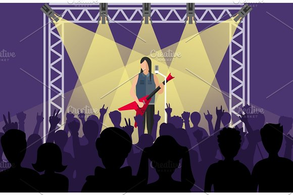 Concert Pop Group Artists On Scene Music Stage Night And Young Rock Metall Band Crowd In Front Of Bright Nightclub Stage Lights Vector Illustration