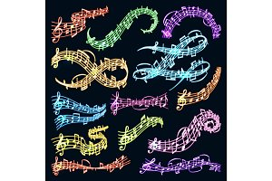 Vector music note melody symbols vector illustration