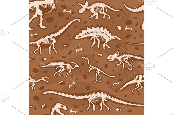 Jurassic Dinosaur Bones Seamless Pattern Tyrannosaurus Skeleton Ancient Fossil Ornament And Archeology Excavations Background Vector Illustration