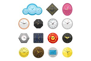 Wall clock circle sign with chronometer pointer collection and deadline stopwatch speed office alarm timer minute watch vector illustration icons set.