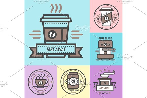Coffee Badge Logo Food Design Thin Line Lettering For Restaurant Cafe Menu Coffee House And Shop Element Beverage Label Sticker Vector Illustration