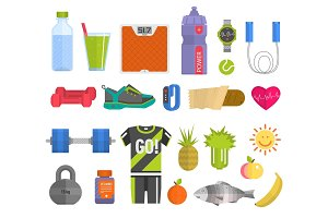 Healthy lifestyle concept with food fitness heart symbol and sport exercise icons medicine wellness fit health care activity vector illustration.