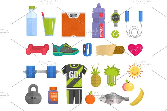 Healthy Lifestyle Concept With Food Fitness Heart Symbol And Sport Exercise Icons Medicine Wellness Fit Health Care Activity Vector Illustration