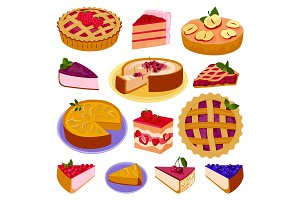Homemade organic berry pie dessert vector illustration isolated