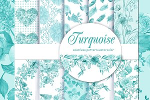 turquoise seamless patterns