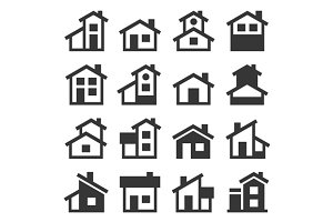 Houses Buildings Icons Set