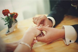 Bride's and groom's hands