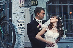 Newlyweds and an old bicycle