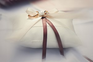 Classy wedding rings on the pillow