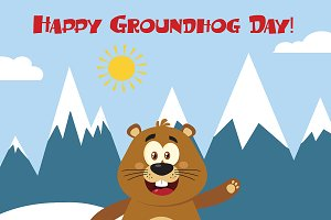 Happy Marmot In Groundhog Day