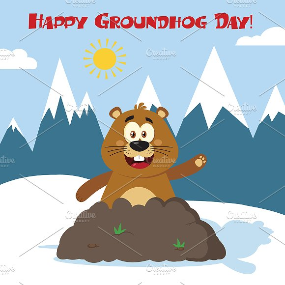 Happy Marmot In Groundhog Day