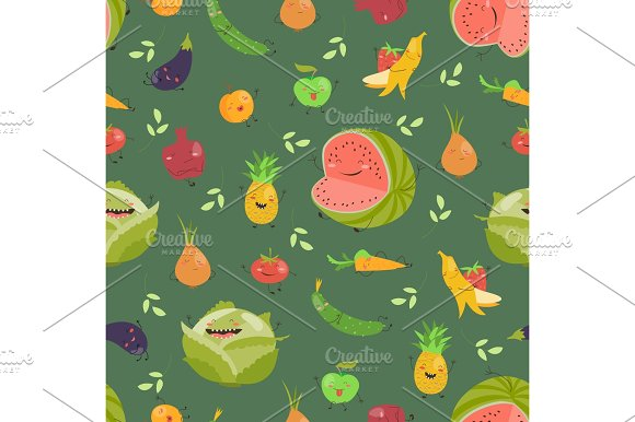 Seamless Background With Fruits And Vegetables On Green Background