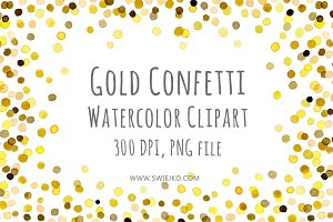 Watercolor Frame Confetti Objects Creative Market
