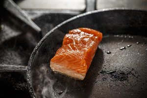 Frying fresh salmon steak