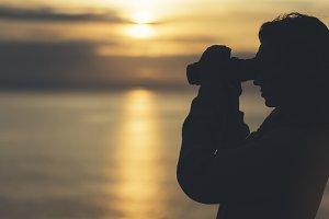 Silhouette person tourist traveler