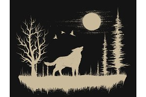 Wolf in the strange forest.