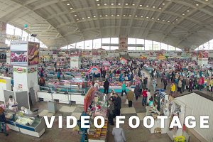 Food market, people motion. Slider, zooming, time-lapse shot