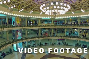 People motion in shopping center. Zoom in, time-lapse shot