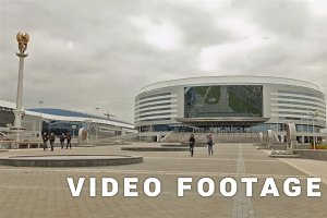 Sport complex Minsk arena . Time lapse shot in motion