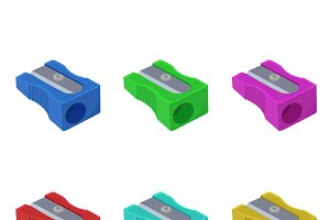 sharpener, set, stationery, vector