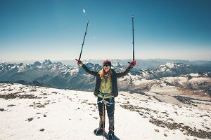 Woman climber Elbrus mountain summit