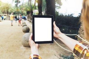 Tourist using gadget