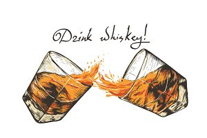 two glasses with whiskey