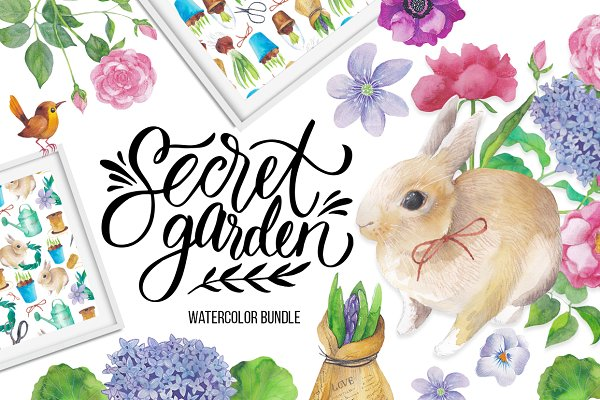 Secret garden: big watercolor bundl…