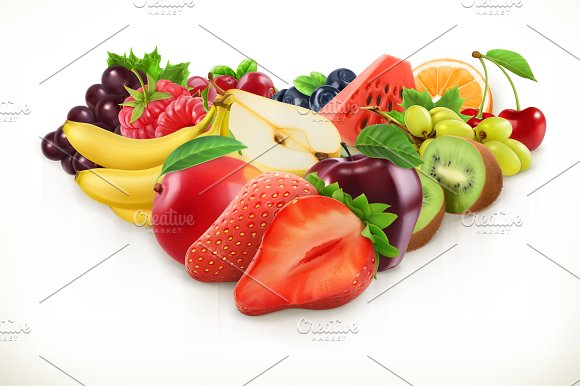 Strawberry And Juicy Fruits Vector