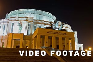 Minsk Opera theatre. Time lapse shot in motion