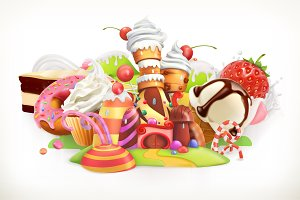 Confectionery and desserts, vector