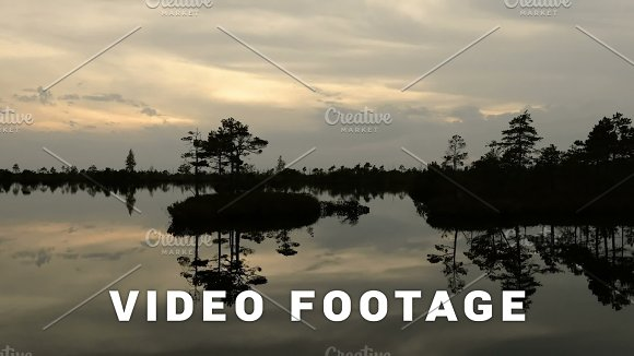 Small Island In The Pond Autumn Sunset Smooth Dolly Shot